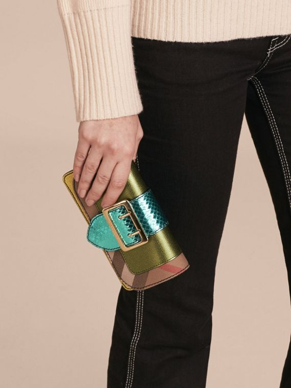 Olive green The Mini Buckle Bag in Leather and House Check - cell image 3