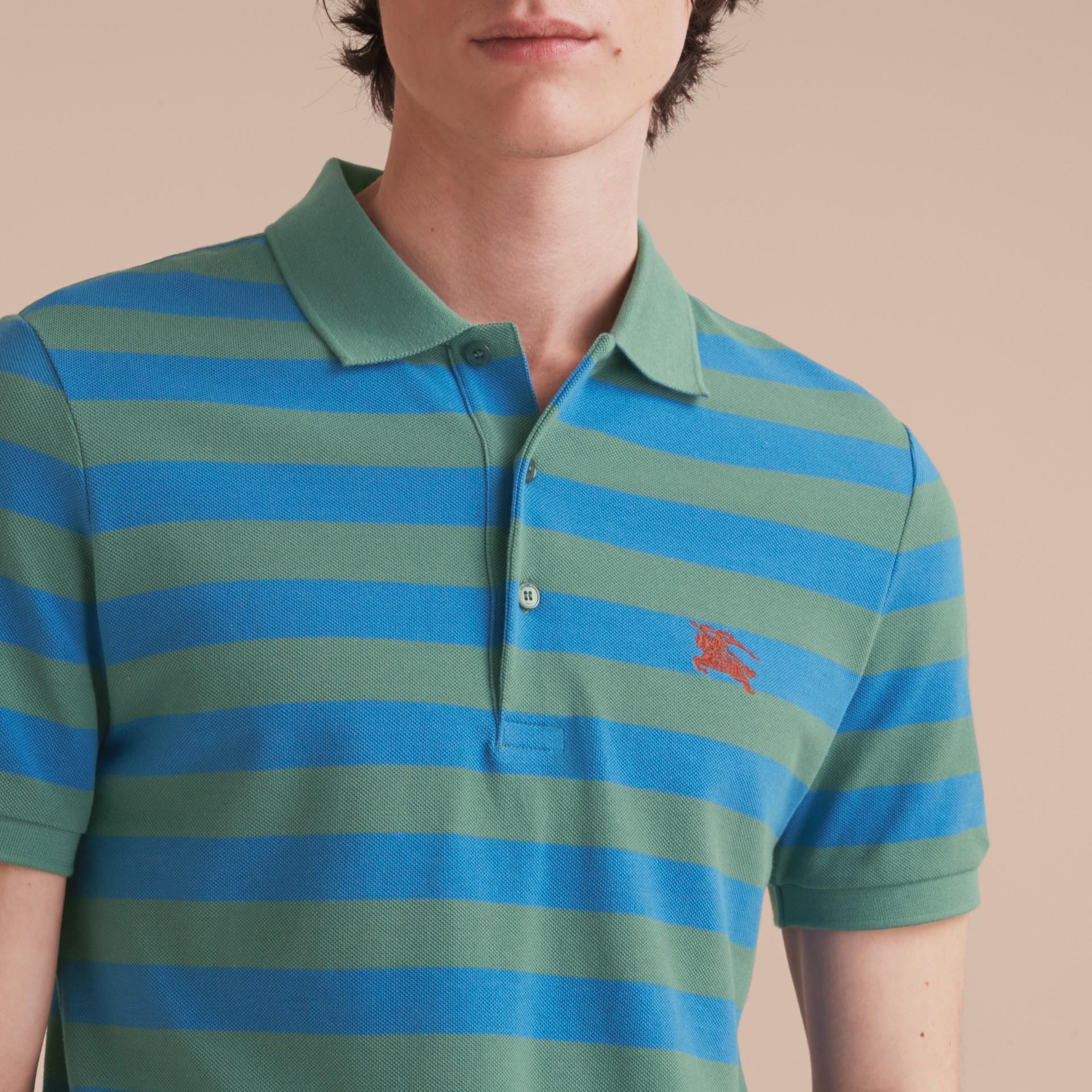 Striped Cotton Polo Shirt Eucalyptus Green/chalk Blue - gallery image 5