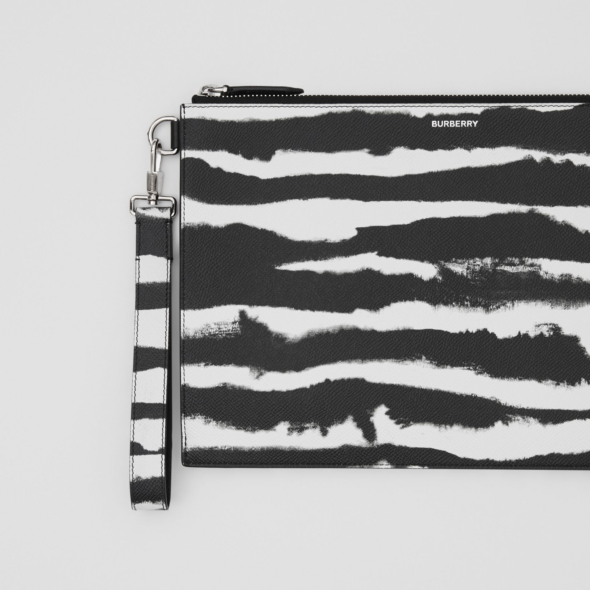 Watercolour Print Leather Zip Pouch in Black/white | Burberry - gallery image 1