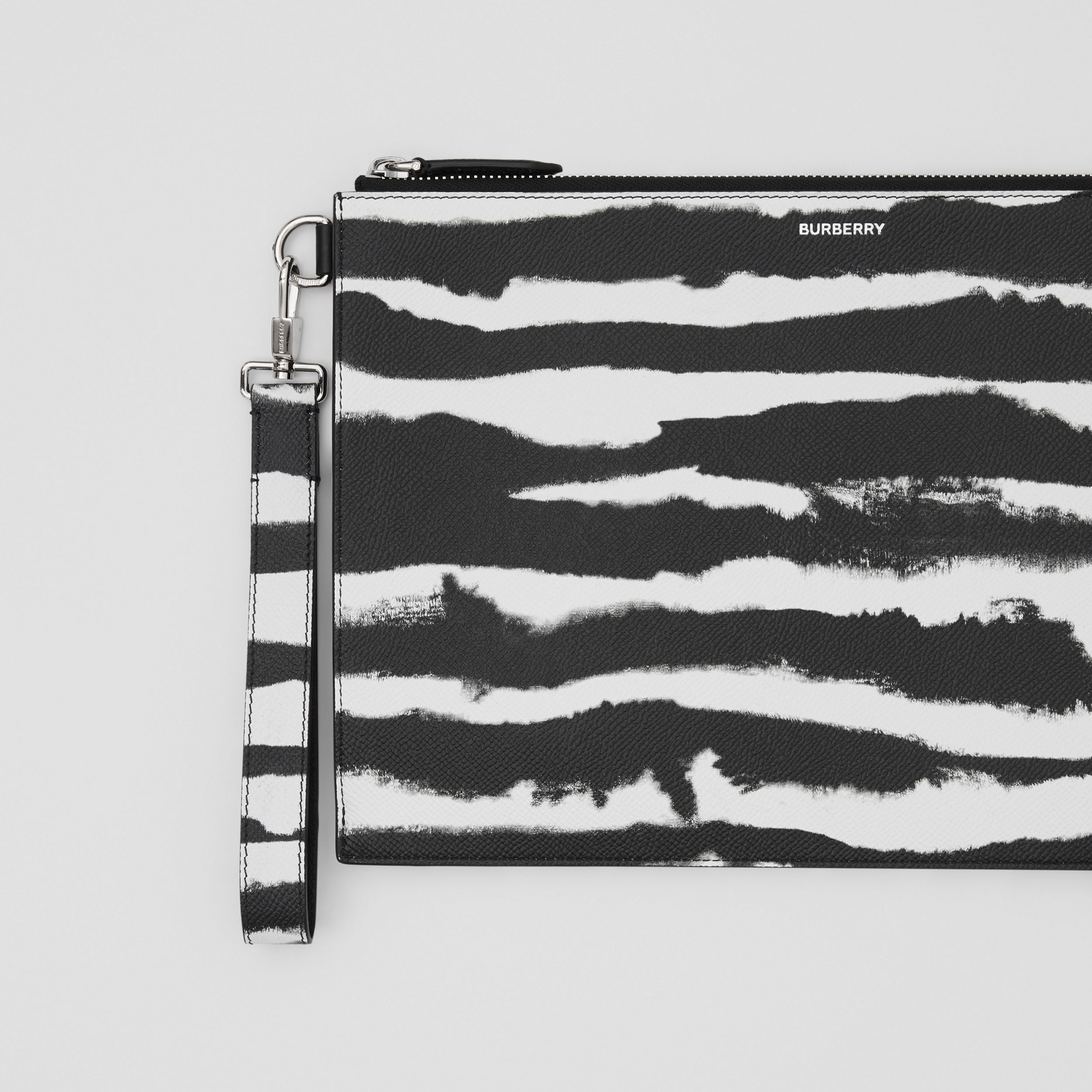 Watercolour Print Leather Zip Pouch in Black/white | Burberry - 2