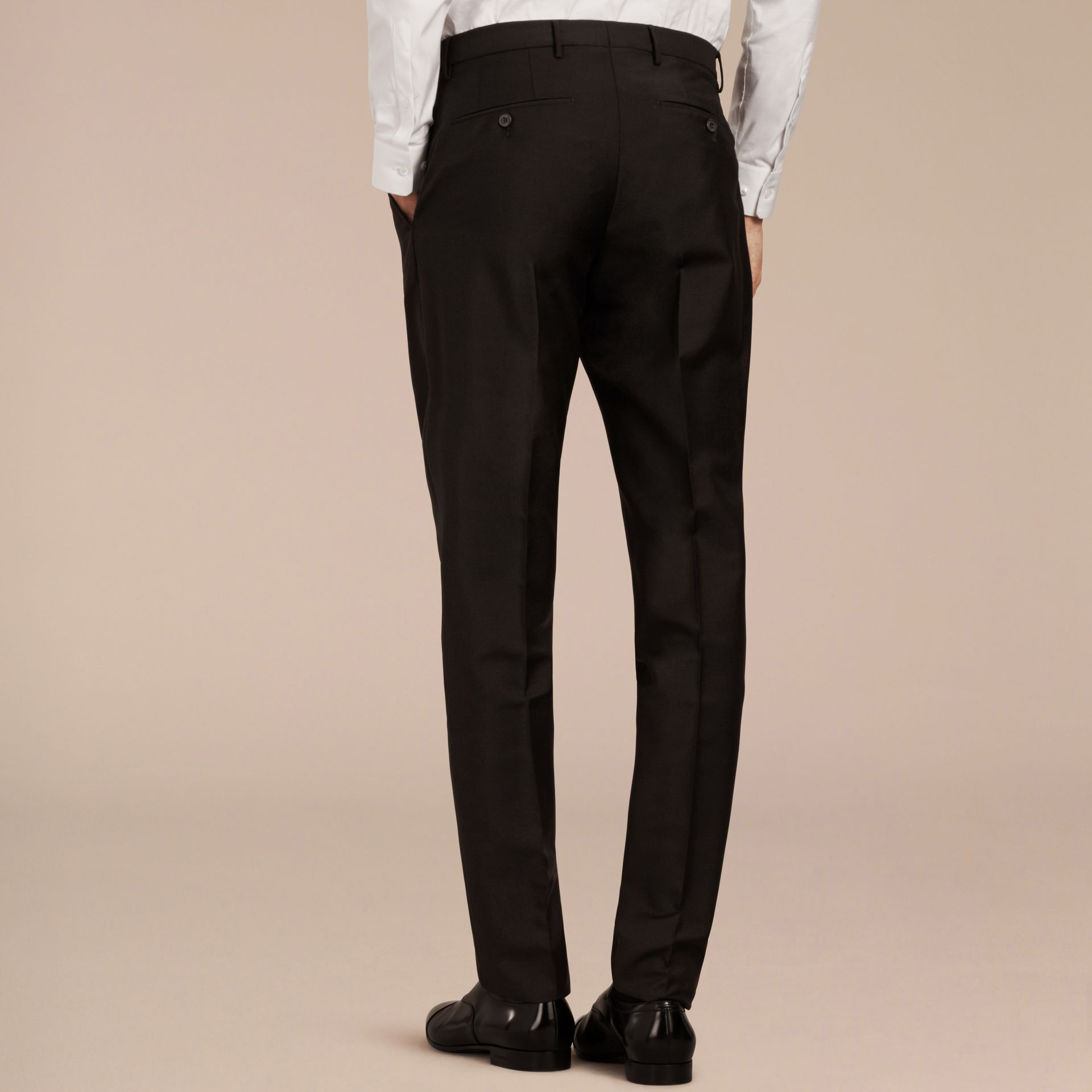 Black Modern Fit Wool Mohair Trousers Black - gallery image 3