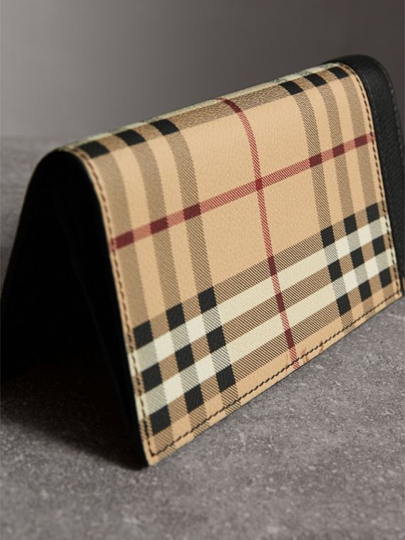 Haymarket Check and Leather Continental Wallet in Black - Men | Burberry - cell image 2