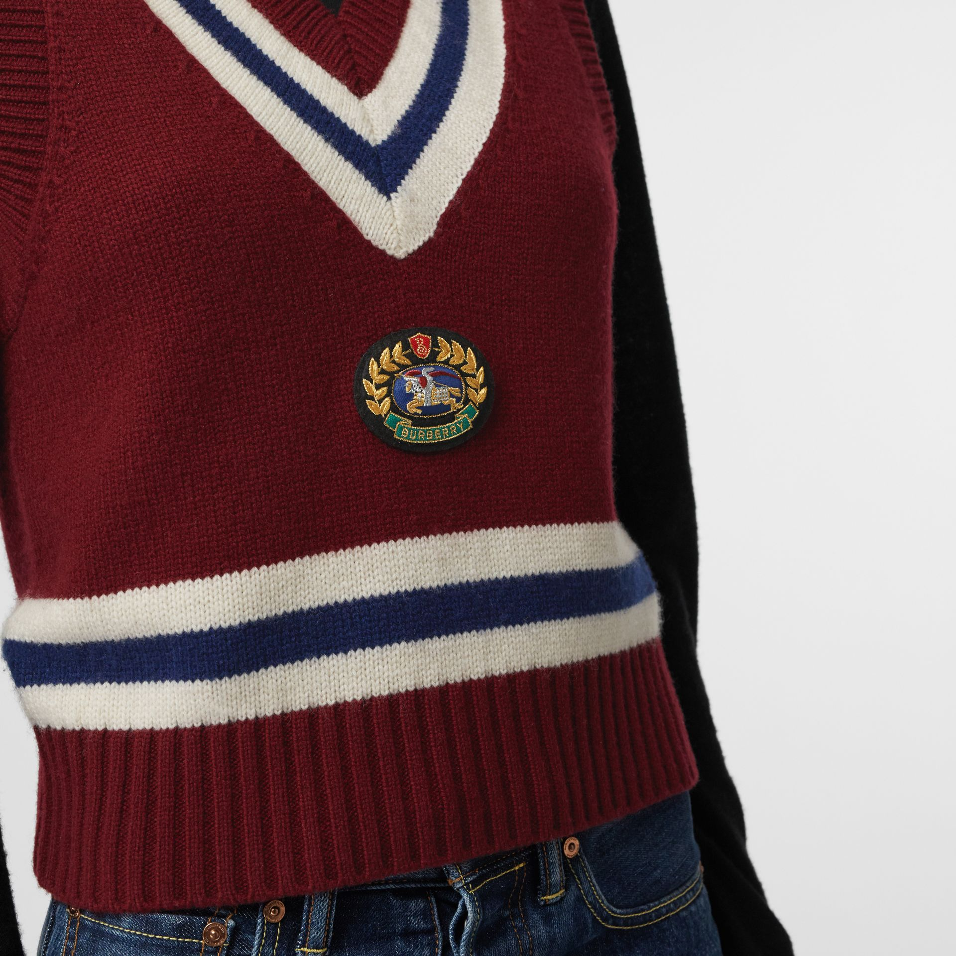 Embroidered Crest Wool Cashmere Tank Top in Burgundy - Women | Burberry - gallery image 1