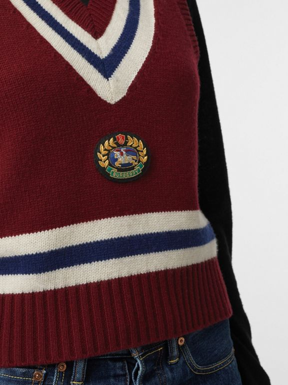 Embroidered Crest Wool Cashmere Tank Top in Burgundy - Women | Burberry - cell image 1
