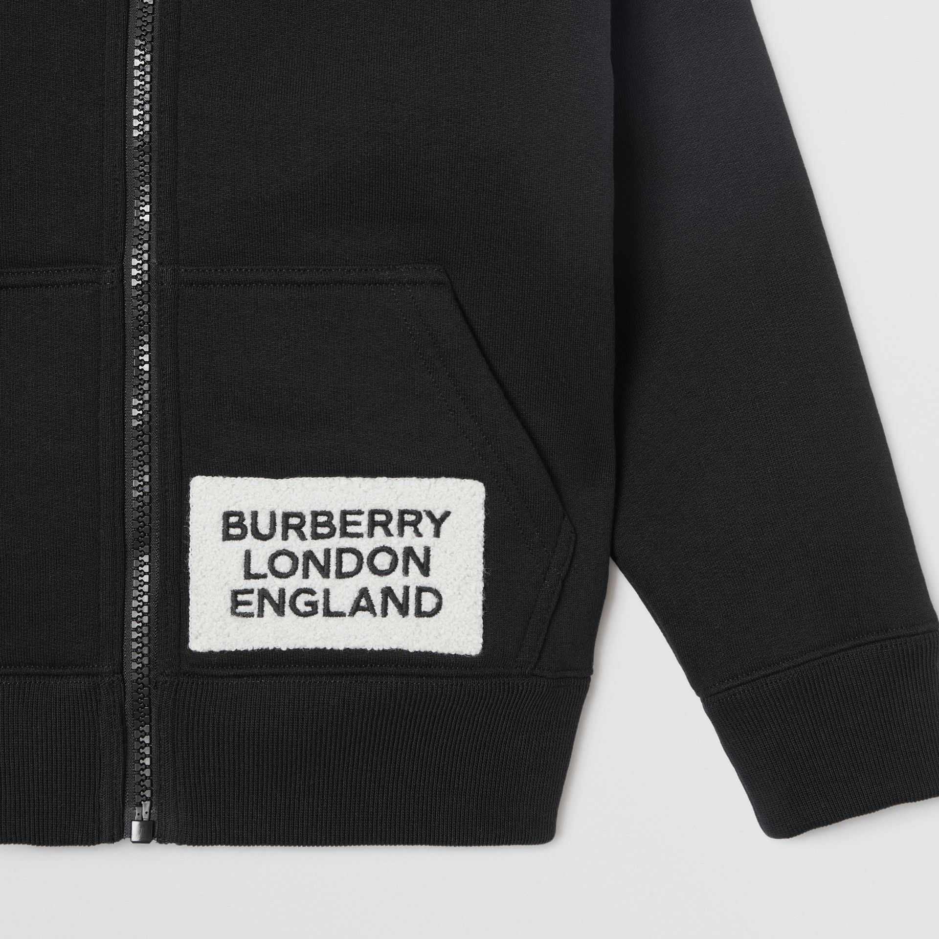 Logo Detail Jersey Hooded Top in Black | Burberry - gallery image 4