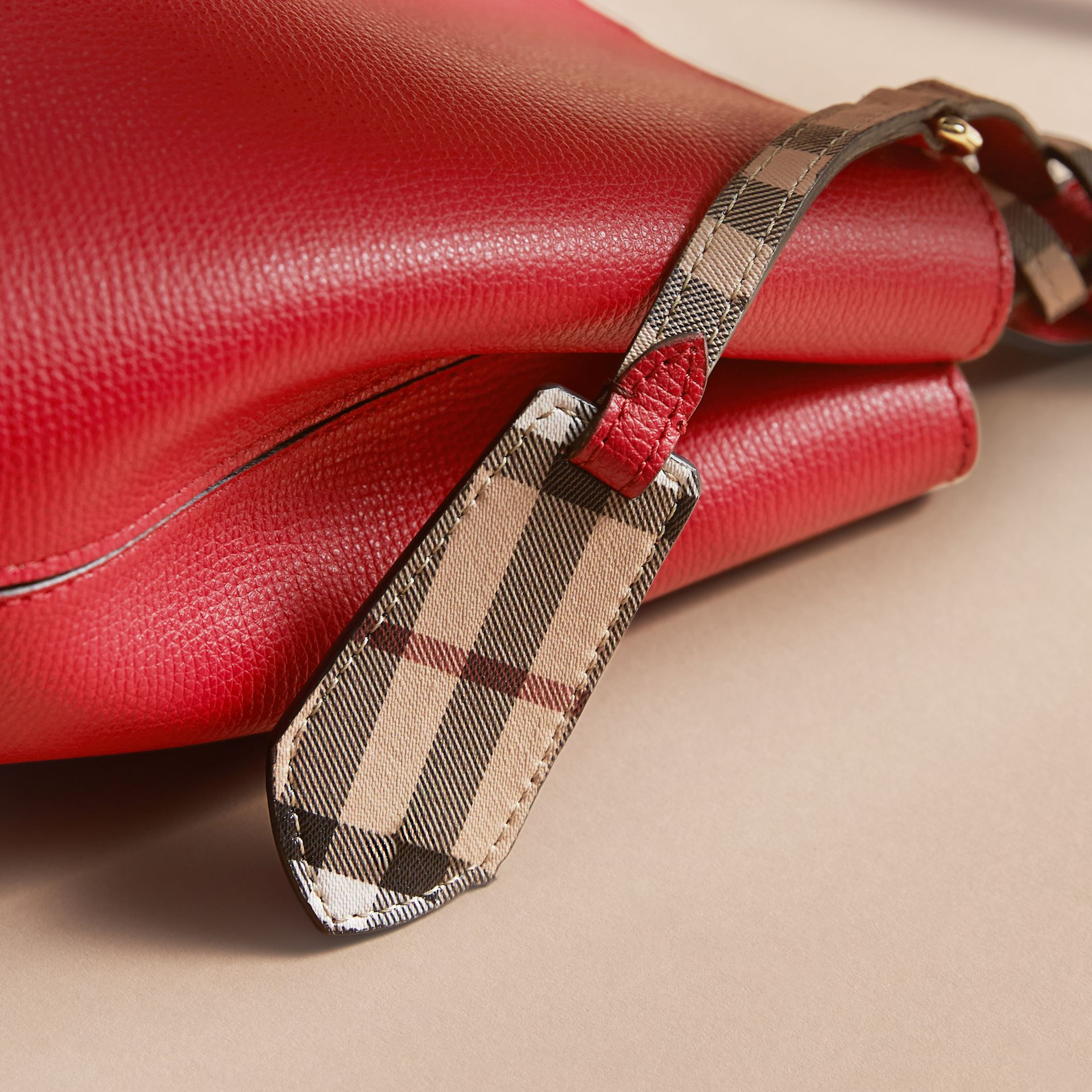 Leather and Haymarket Check Crossbody Bucket Bag in Poppy Red - Women | Burberry - gallery image 2