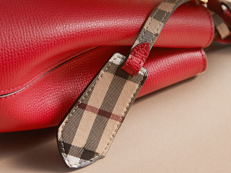 Leather and Haymarket Check Crossbody Bucket Bag in Poppy Red - Women | Burberry - cell image 1