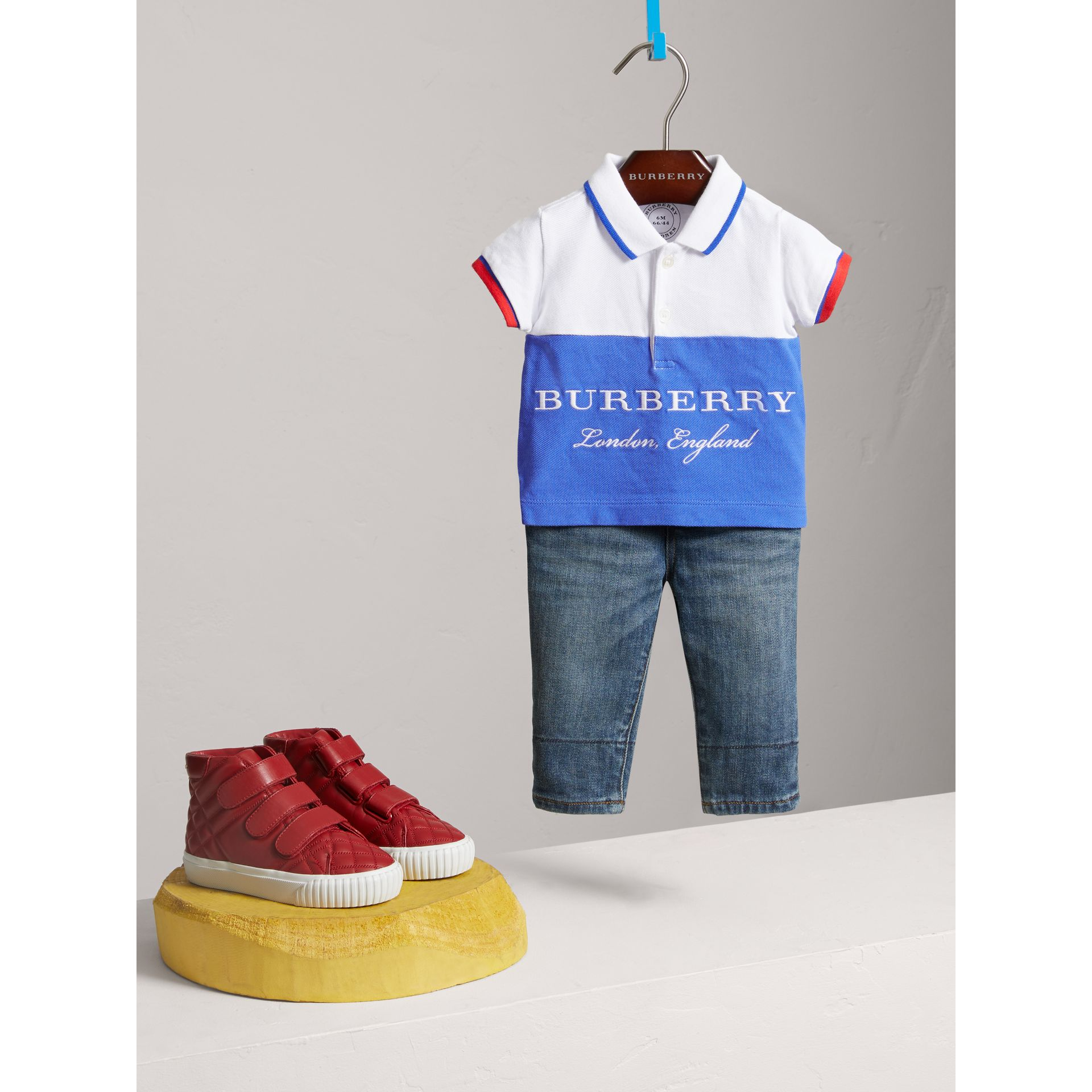 Tipped Cotton Piqué Polo Shirt in Cobalt Blue | Burberry Canada - gallery image 2