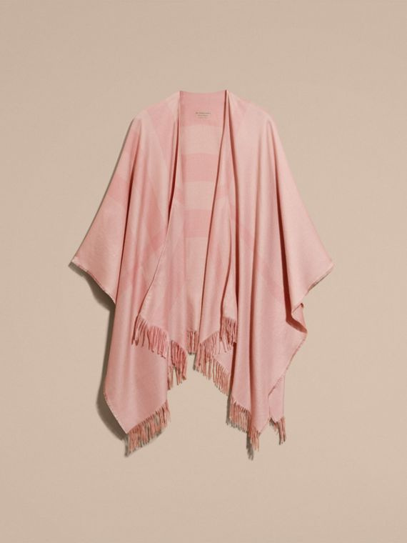 Lightweight Check Cashmere Poncho in Ash Rose - cell image 3