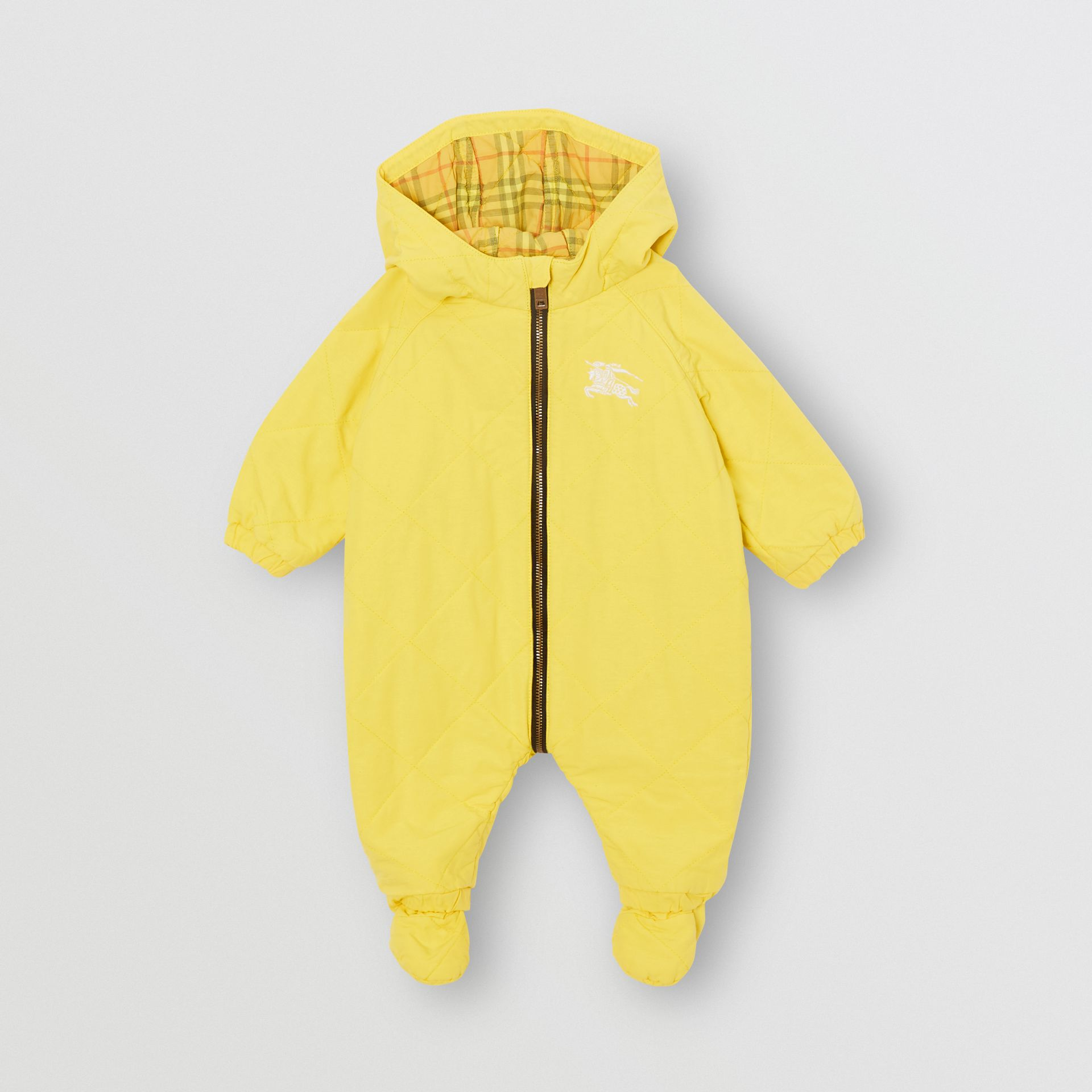 Diamond Quilted Cotton All-in-One in Yellow Citrine - Children | Burberry - gallery image 0