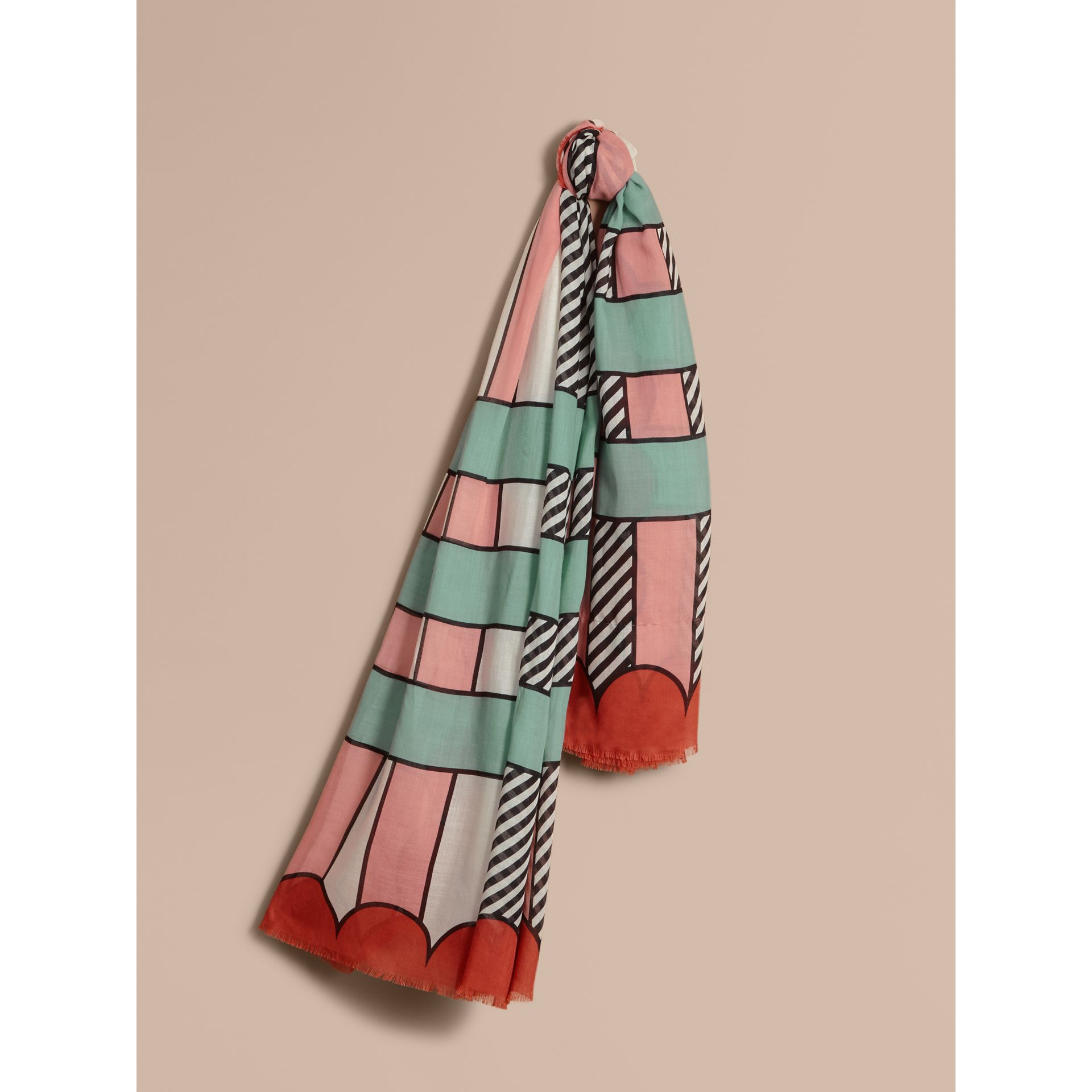 Striped Exaggerated Check Cashmere Silk Scarf in Apricot Pink - Women | Burberry - gallery image 1