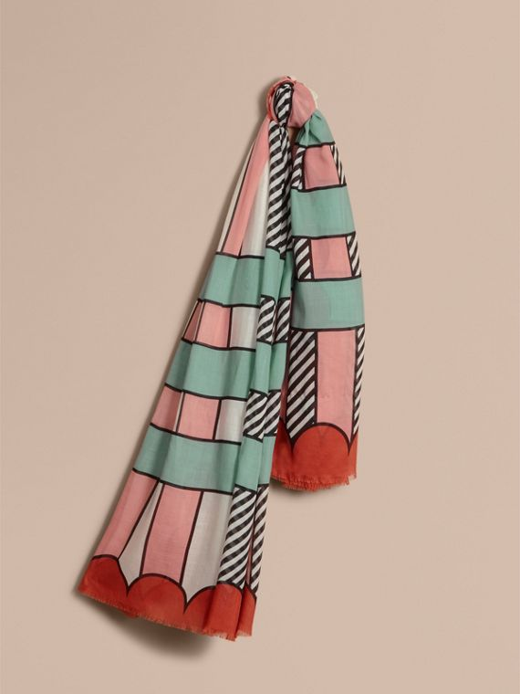 Striped Exaggerated Check Cashmere Silk Scarf in Apricot Pink - Women | Burberry