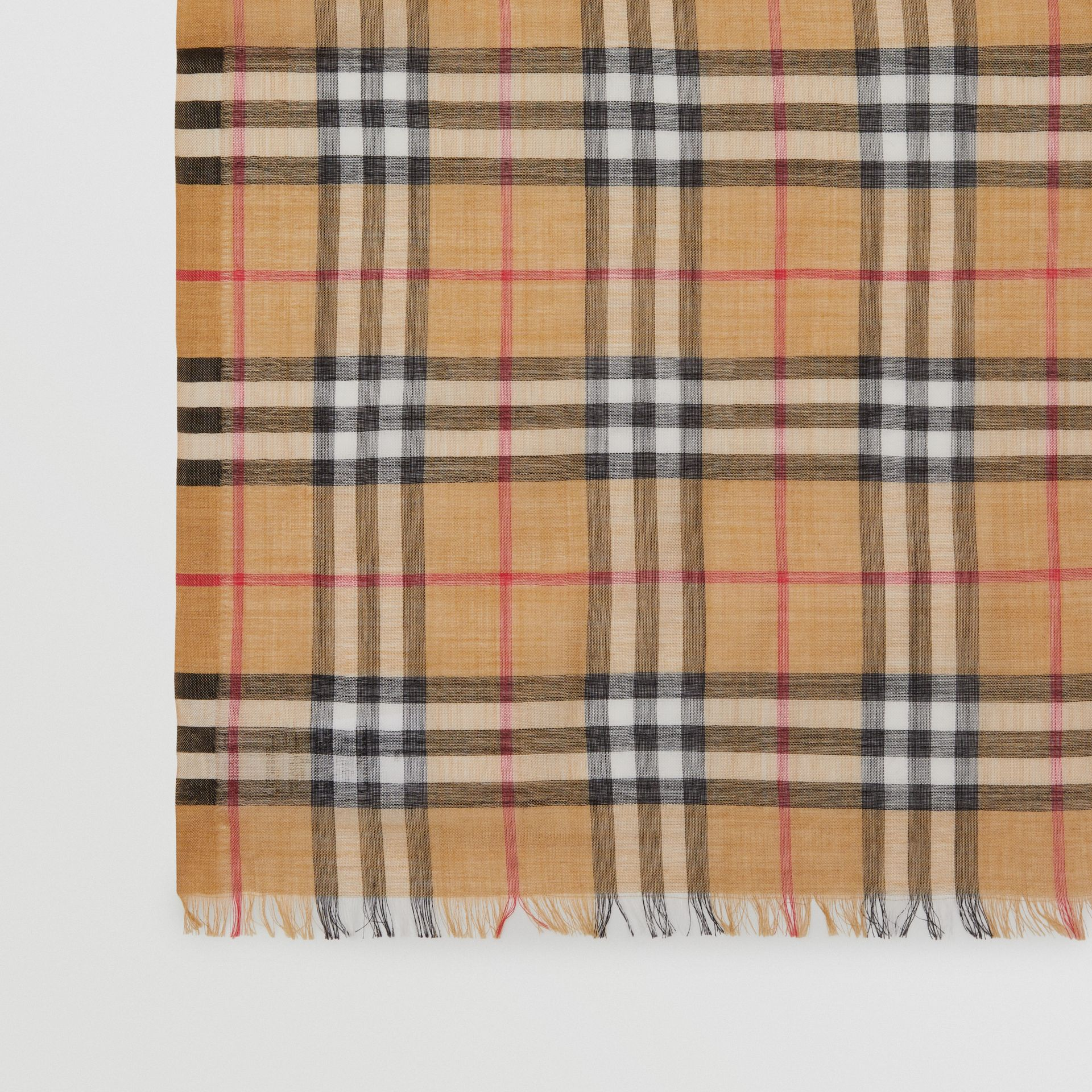 Vintage Check Lightweight Wool Silk Scarf in Antique Yellow | Burberry - gallery image 1