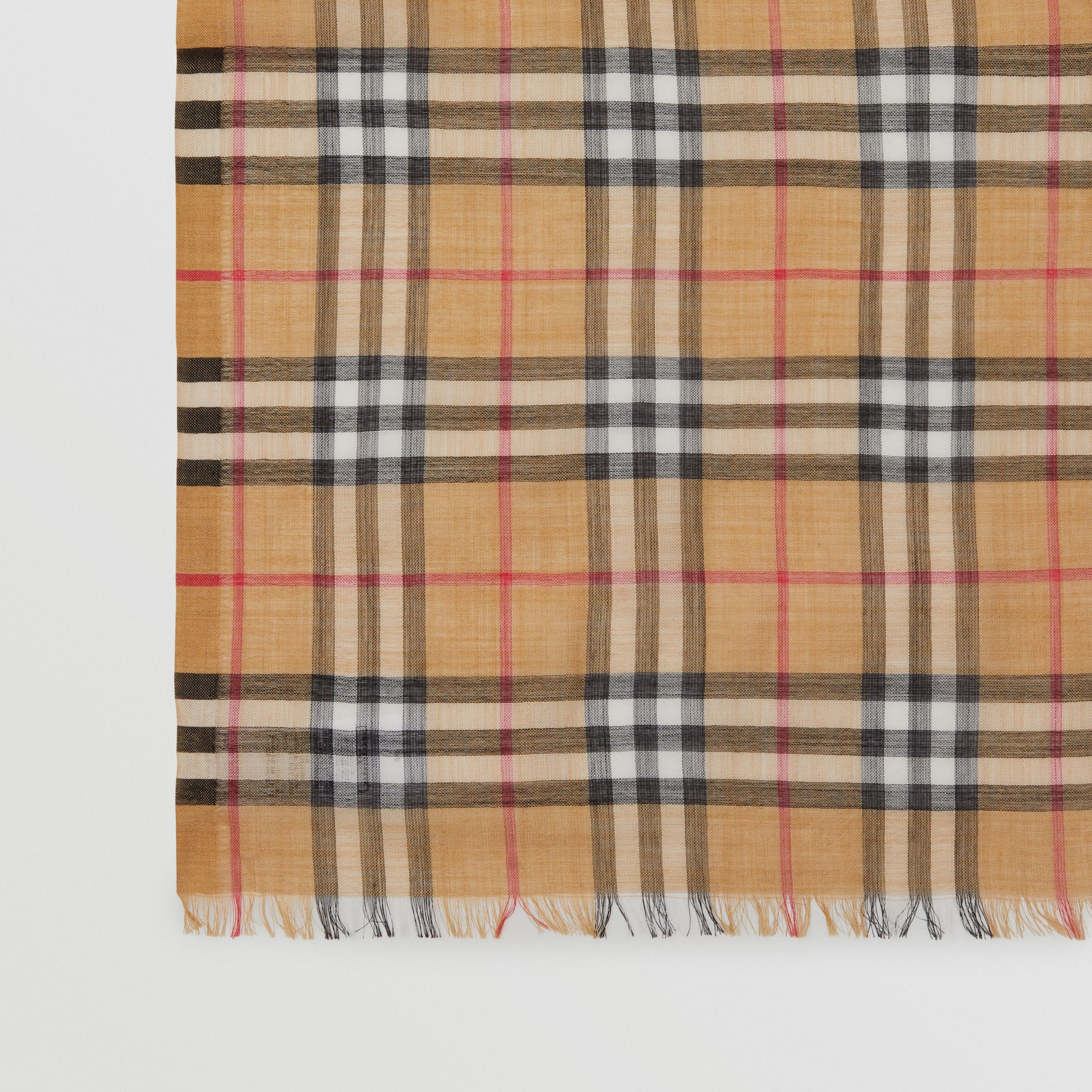 Vintage Check Lightweight Wool Silk Scarf in Antique Yellow | Burberry Hong Kong S.A.R - 2
