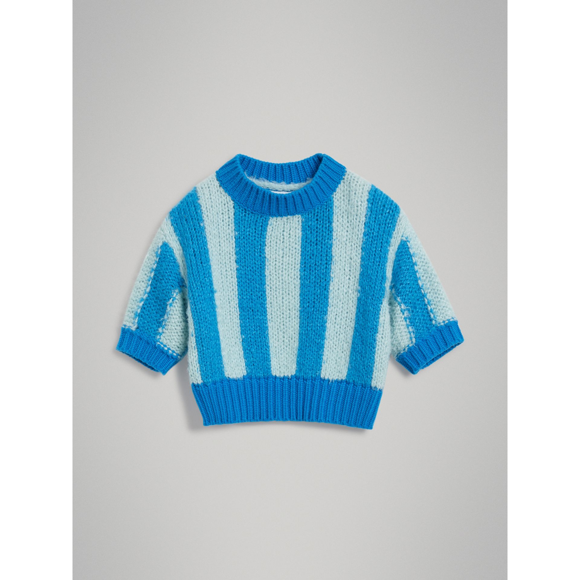 Short-sleeve Striped Silk Sweater in Bright Blue | Burberry - gallery image 0