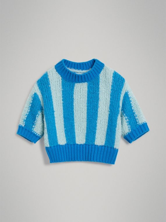 Short-sleeve Striped Silk Sweater in Bright Blue