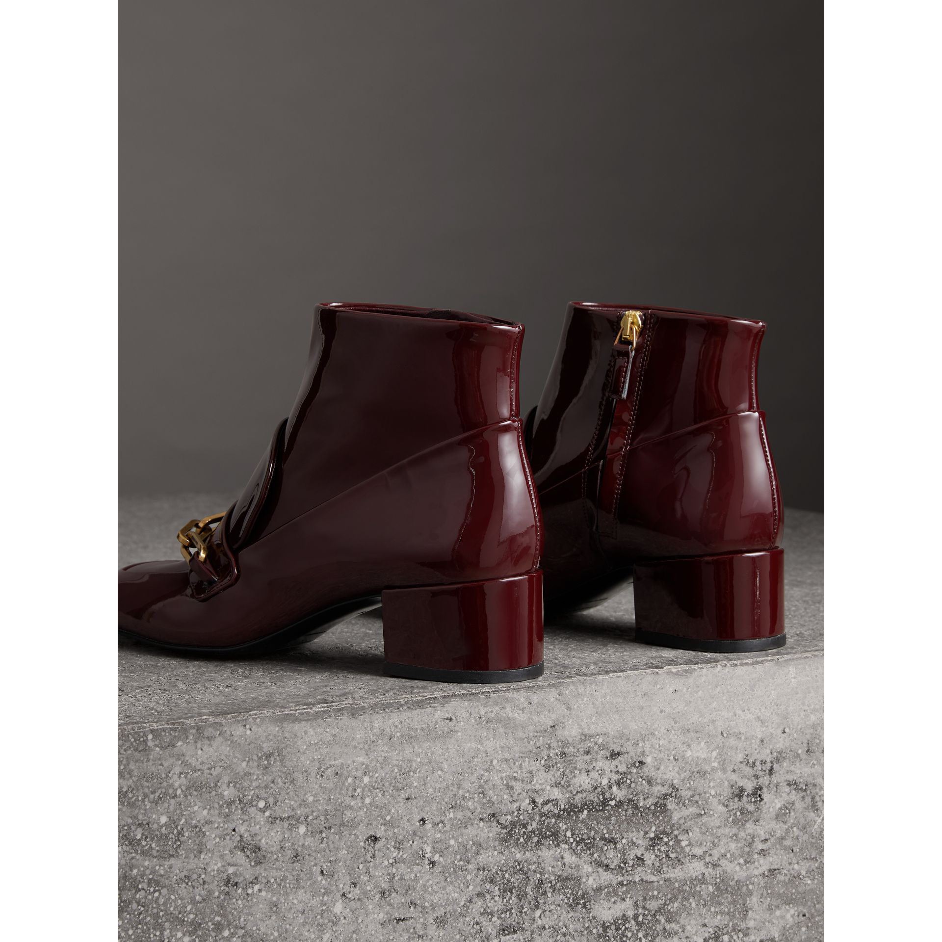 Link Detail Patent Leather Ankle Boots in Burgundy Red - Women | Burberry Singapore - gallery image 3