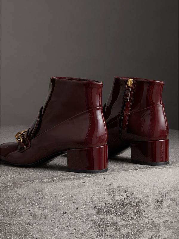 Link Detail Patent Leather Ankle Boots in Burgundy Red - Women | Burberry - cell image 3