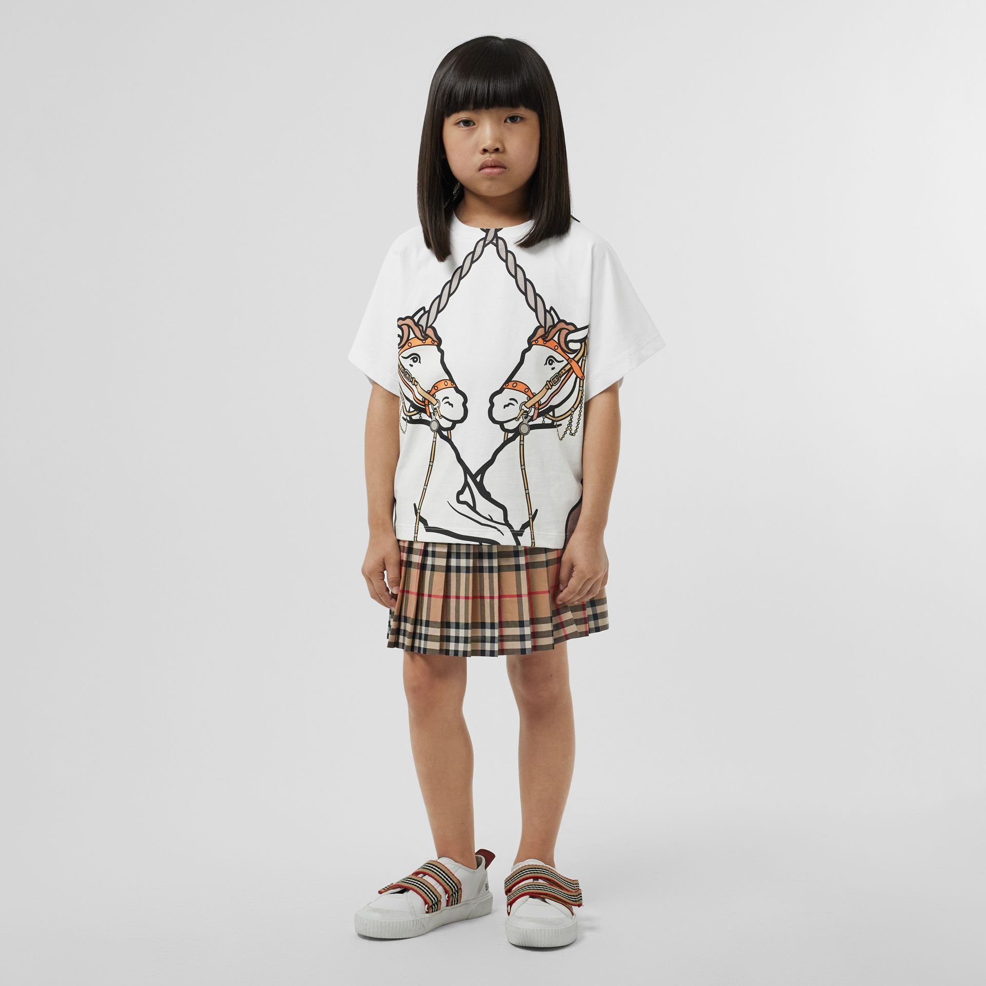 Unicorn Print Cotton T-shirt in White | Burberry Canada - gallery image 2