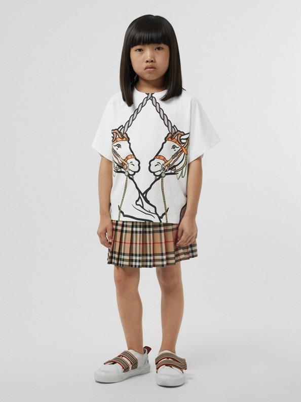 Camiseta de algodão com estampa de unicórnio (Branco)