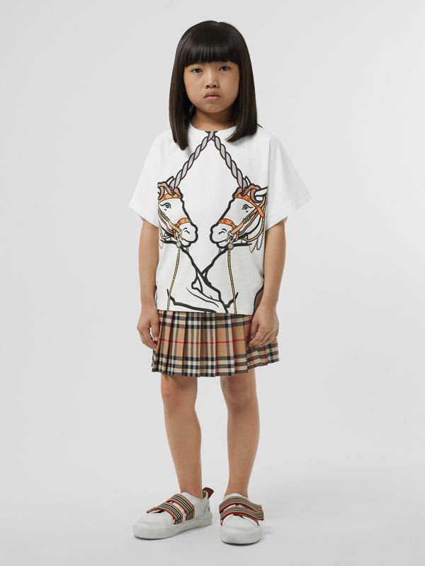 Unicorn Print Cotton T-shirt in White | Burberry Australia - cell image 2