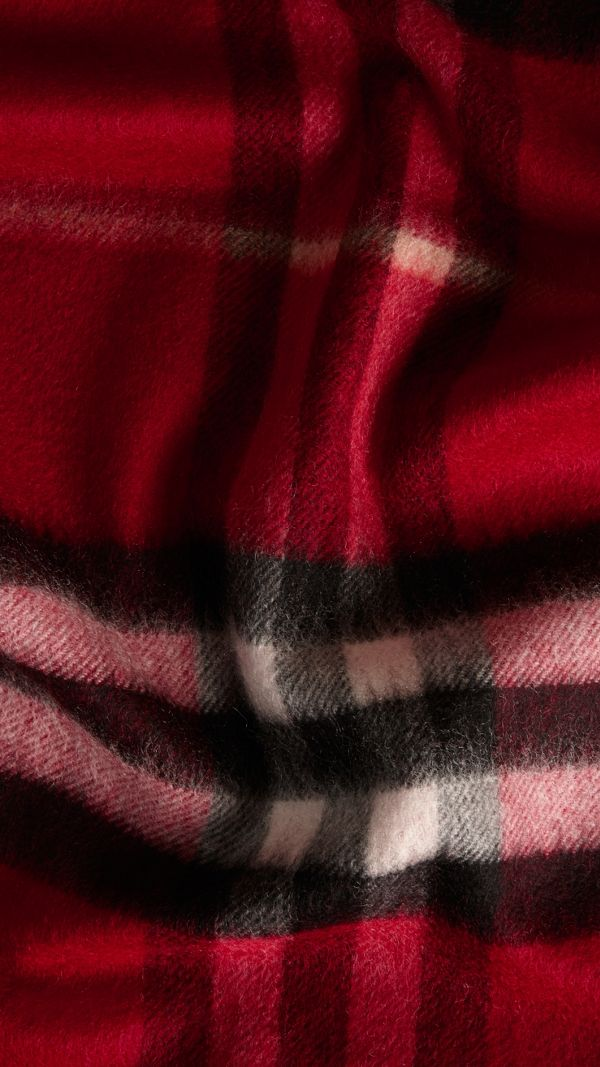 Check Cashmere Scarf in Parade Red | Burberry United States - cell image 2