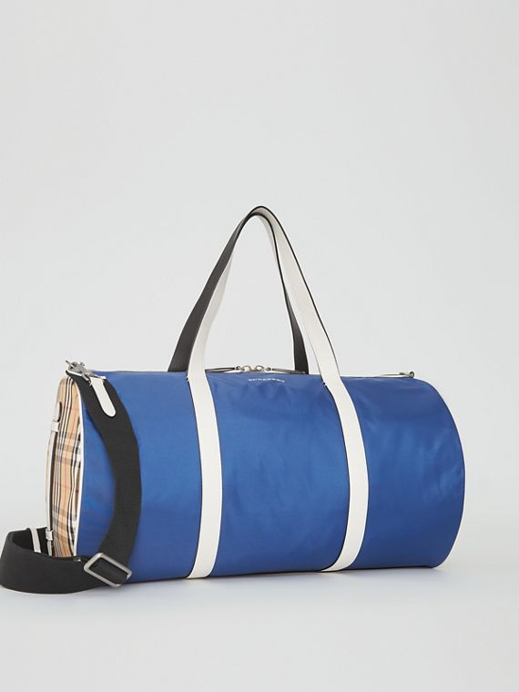 Große Barrel Bag im Vintage Check- und Colour-Blocking-Design (Dunkles Canvasblau)