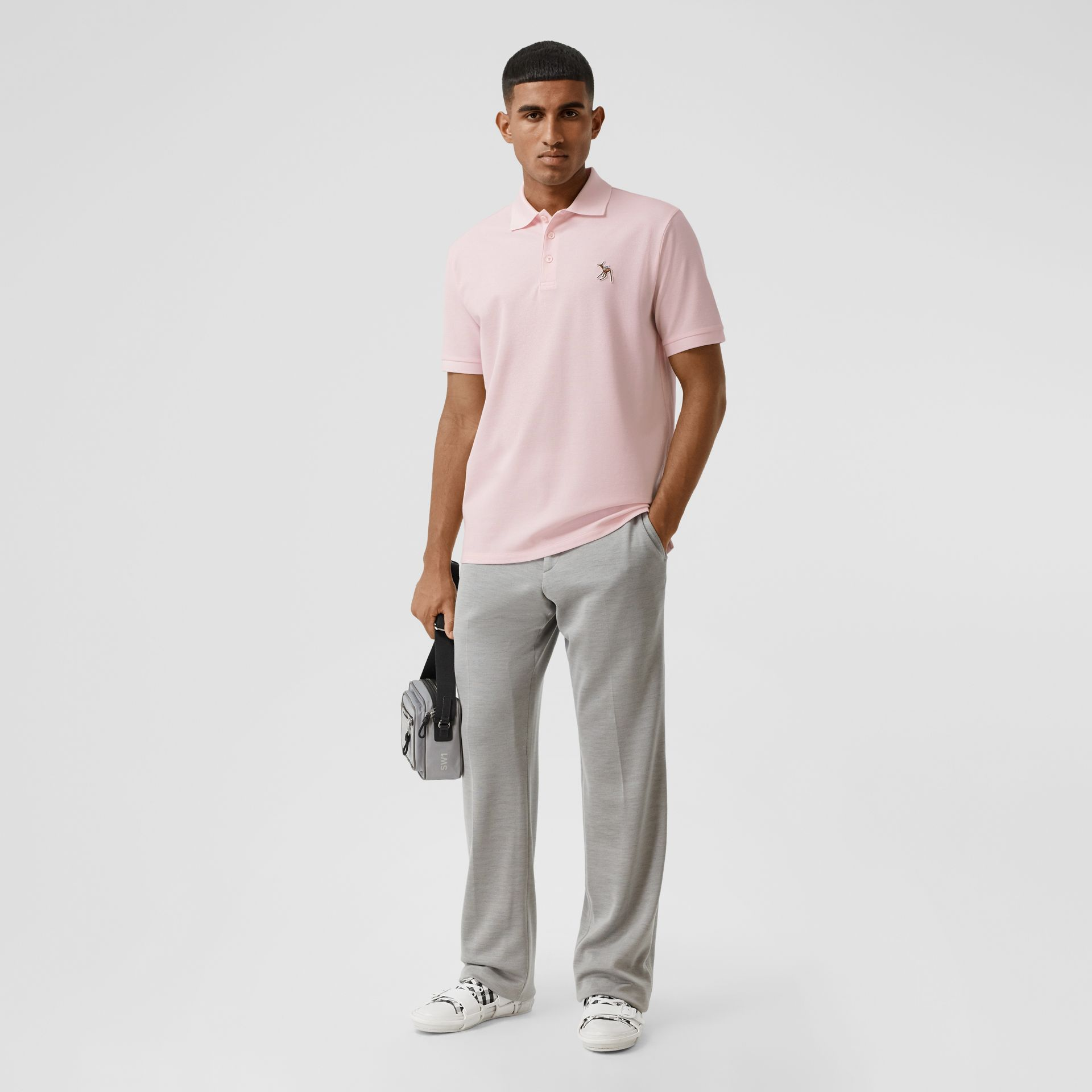 Deer Appliqué Cotton Piqué Polo Shirt in Alabaster Pink - Men | Burberry - gallery image 4