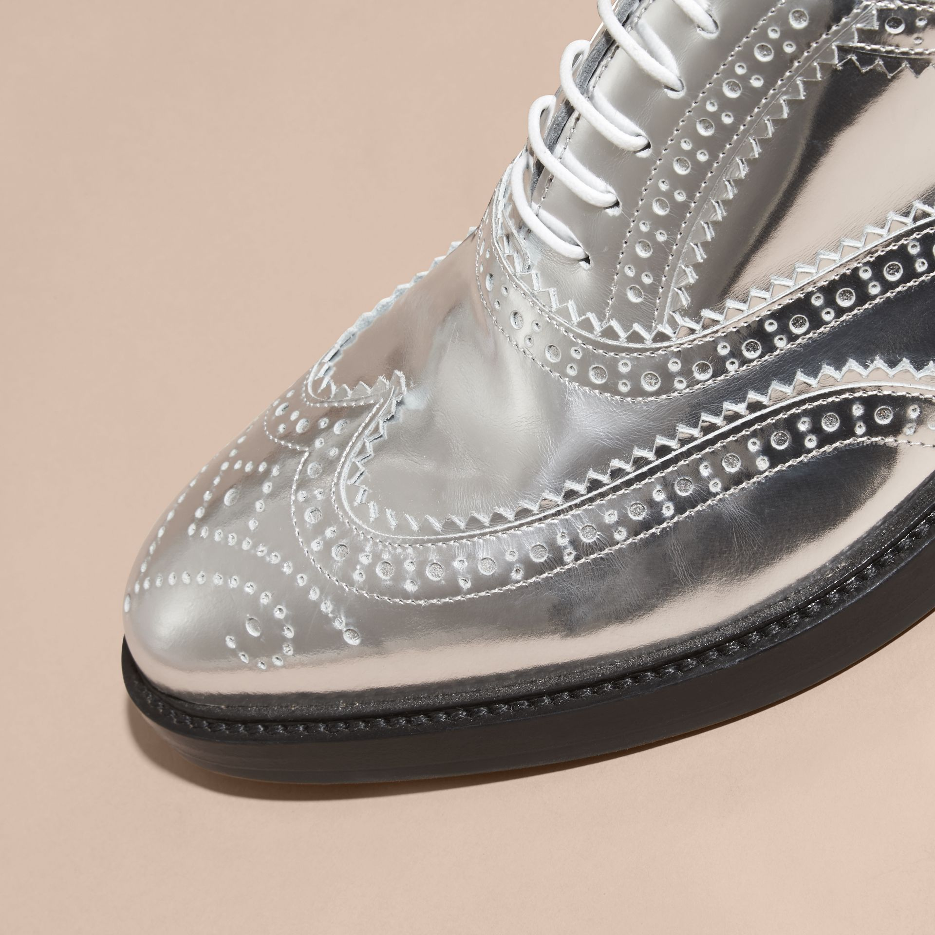 Silver Metallic Leather Wingtip Brogues Silver - gallery image 2