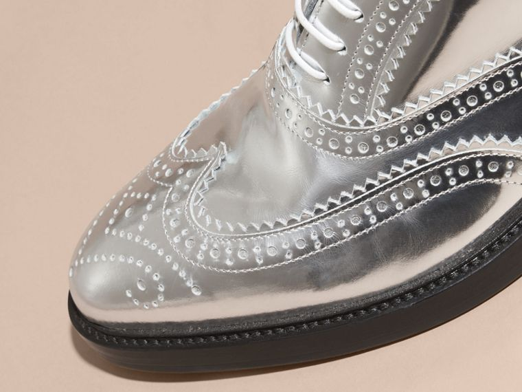 Silver Metallic Leather Wingtip Brogues Silver - cell image 1