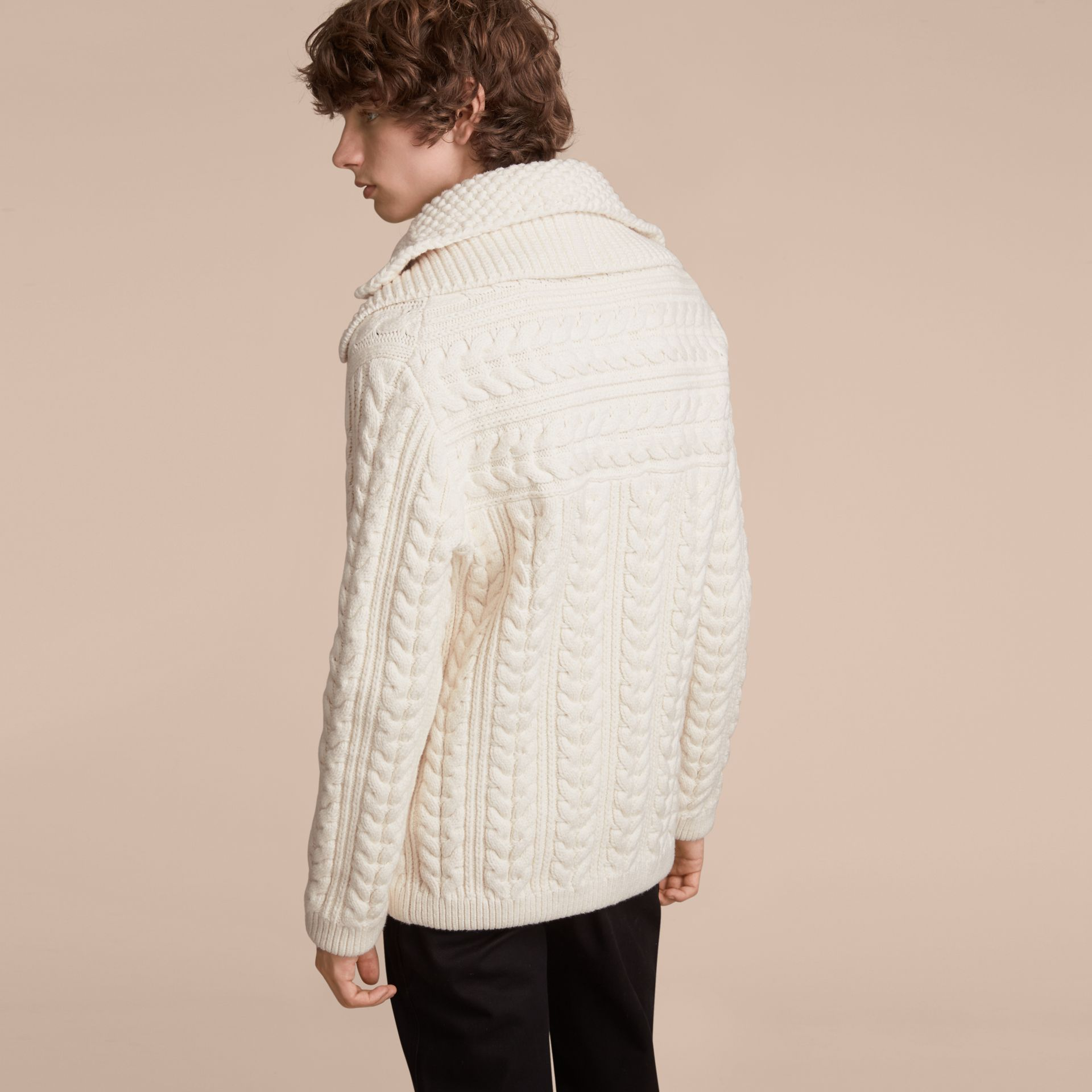 Aran Knit Technical Cotton Jacket in Natural White - Men | Burberry - gallery image 3