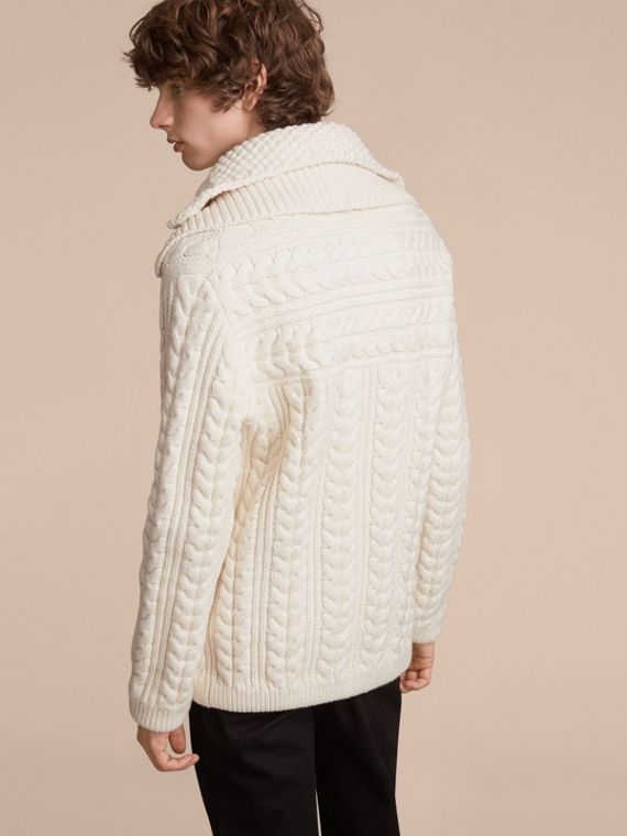 Aran Knit Technical Cotton Jacket in Natural White - Men | Burberry - cell image 2