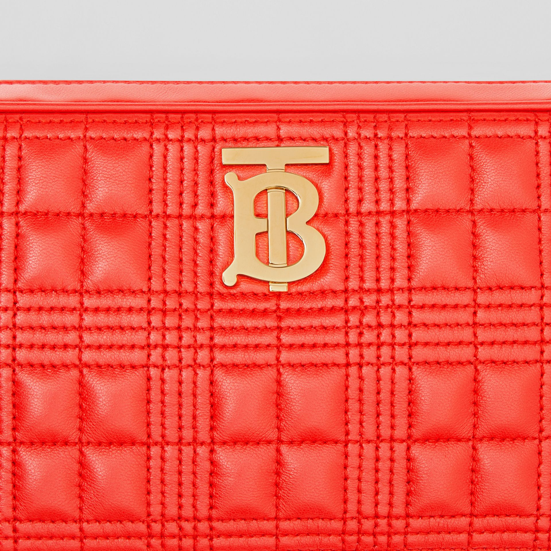 Quilted Check Lambskin Camera Bag in Bright Red - Women | Burberry Australia - gallery image 1