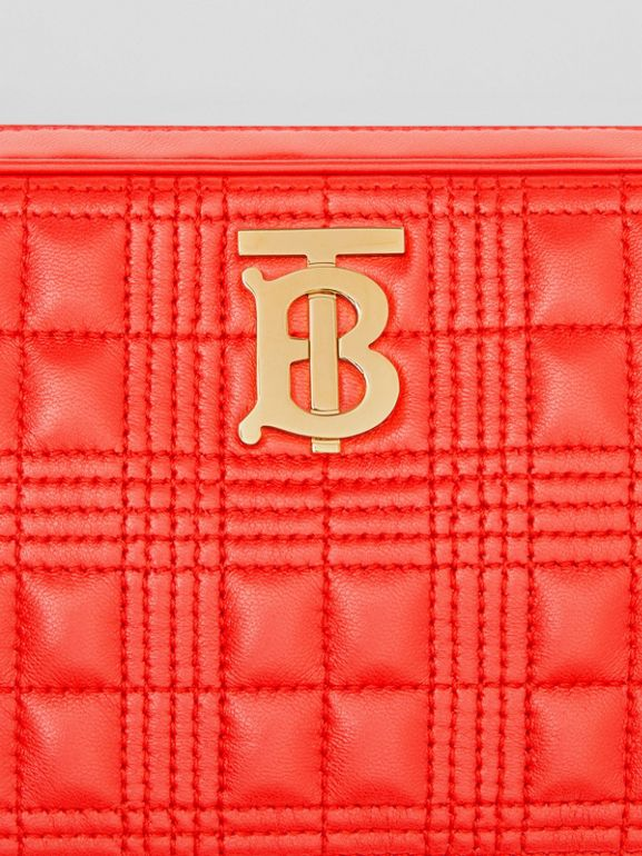 Quilted Check Lambskin Camera Bag in Bright Red - Women | Burberry - cell image 1