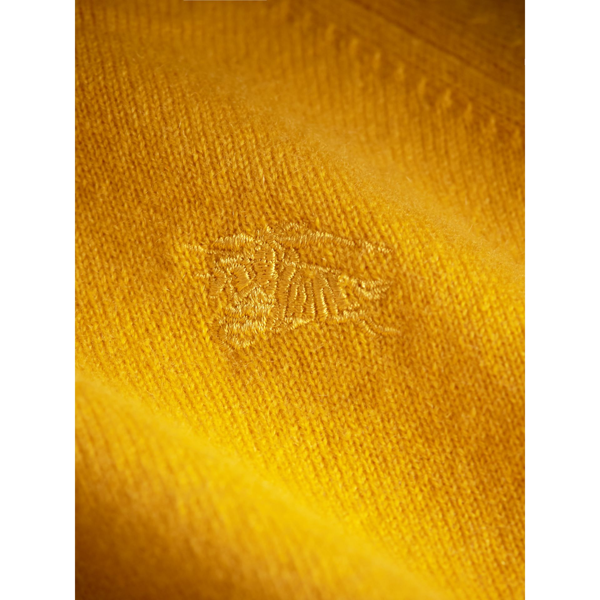 Check Cuff Cashmere Sweater in Amber Yellow - Girl | Burberry - gallery image 2