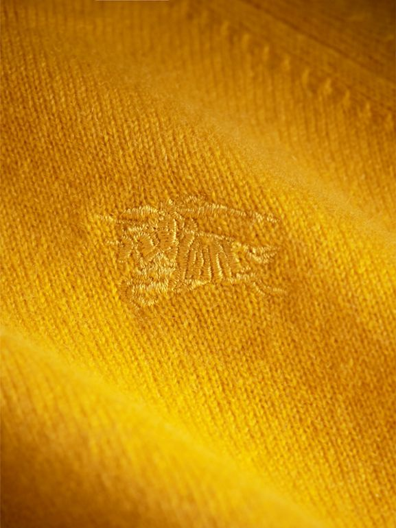 Check Cuff Cashmere Sweater in Amber Yellow | Burberry - cell image 1