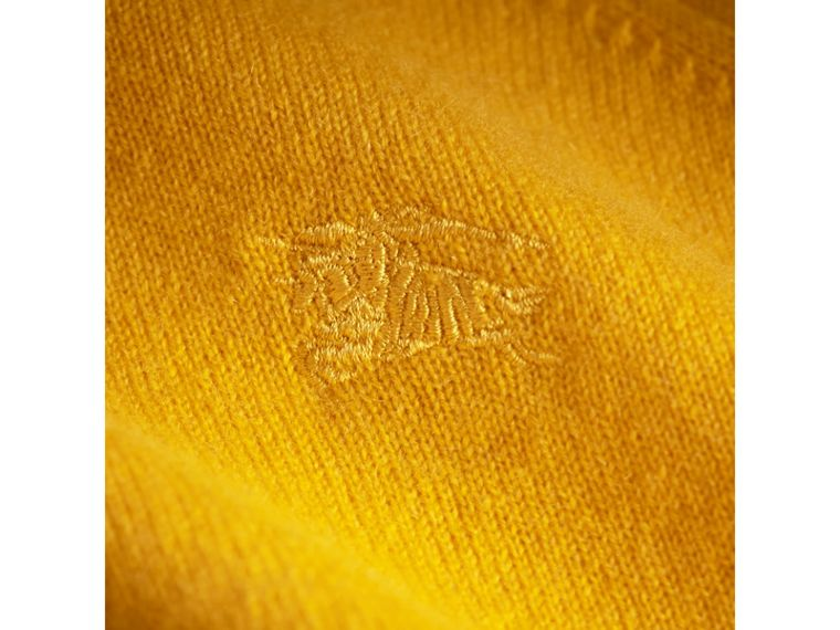 Check Cuff Cashmere Sweater in Amber Yellow - Girl | Burberry Canada - cell image 1