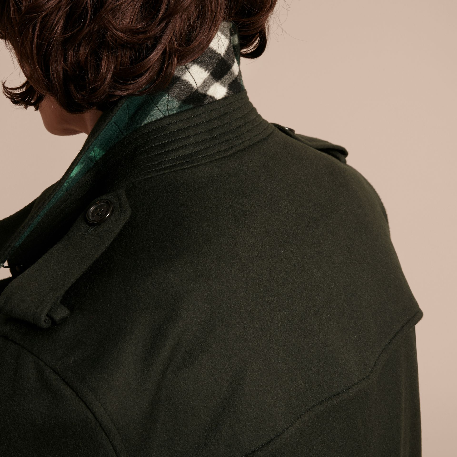 Cashmere Trench Coat in Dark Military Green - gallery image 4