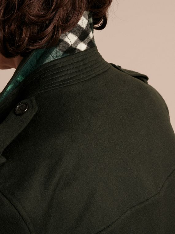 Verde militare scuro Trench coat in cashmere Verde Militare Scuro - cell image 3