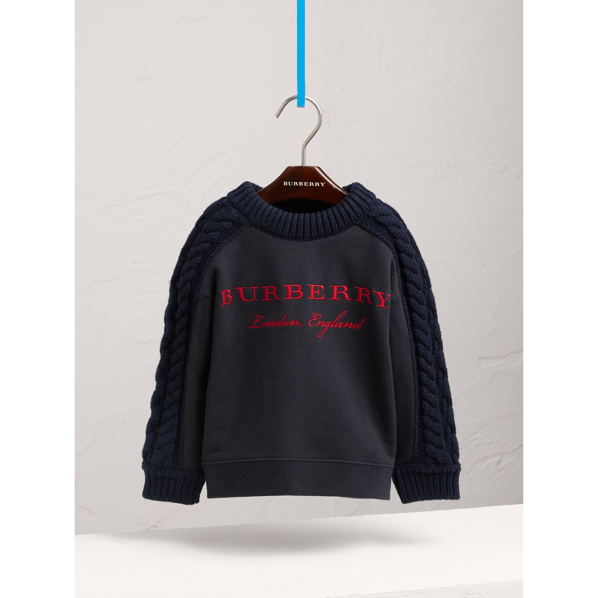 Cable Knit-sleeve Embroidered Cotton Sweatshirt in Navy - Girl | Burberry - gallery image 3