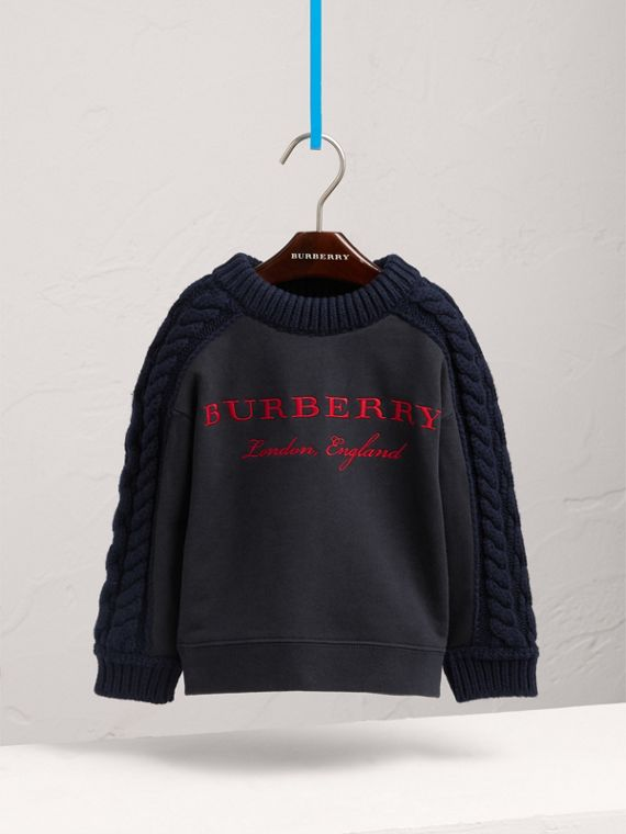 Cable Knit-sleeve Embroidered Cotton Sweatshirt in Navy - Girl | Burberry - cell image 2