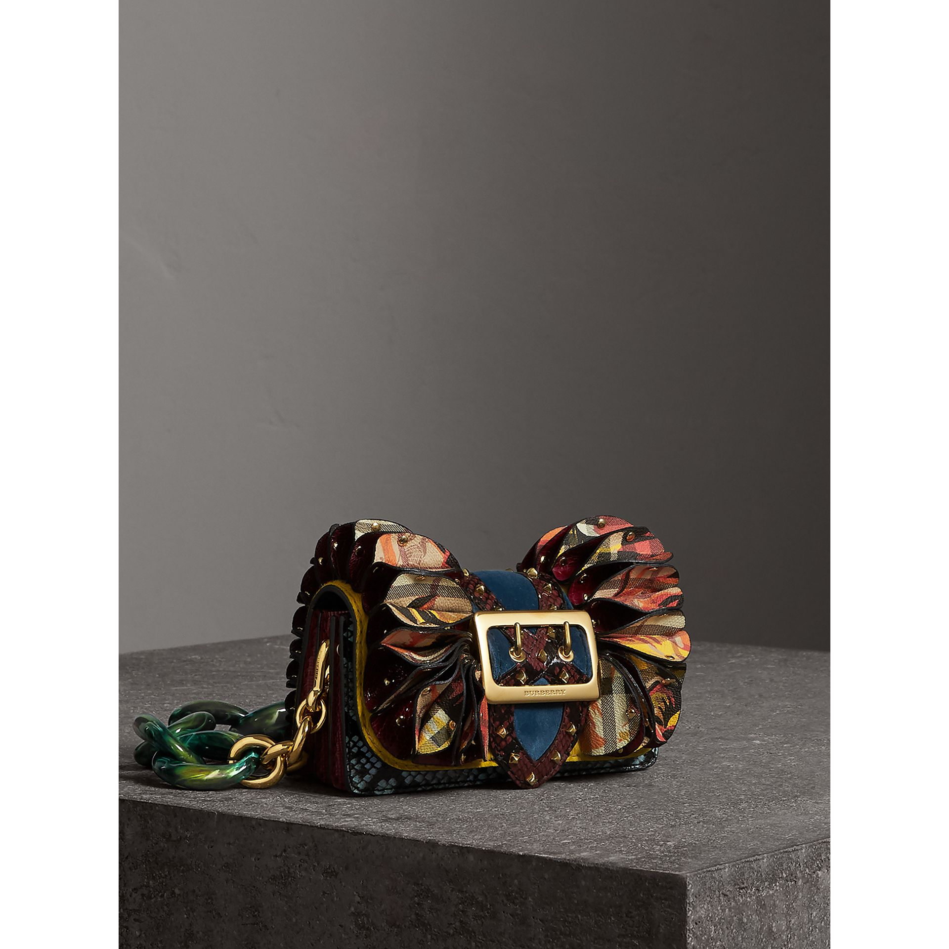 The Ruffle Buckle Bag in Snakeskin, Ostrich and Check in Larch Yellow - Women | Burberry Canada - gallery image 7