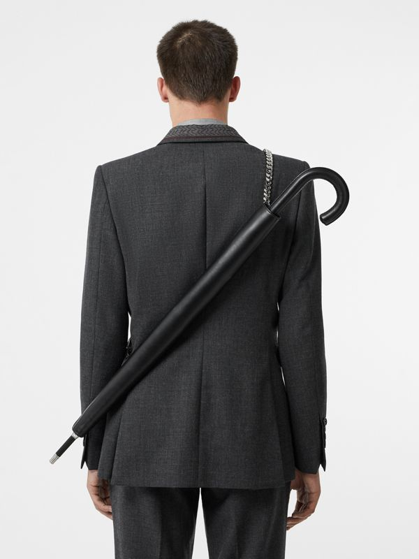 Leather Umbrella Holster with Chain Strap in Black | Burberry - cell image 2