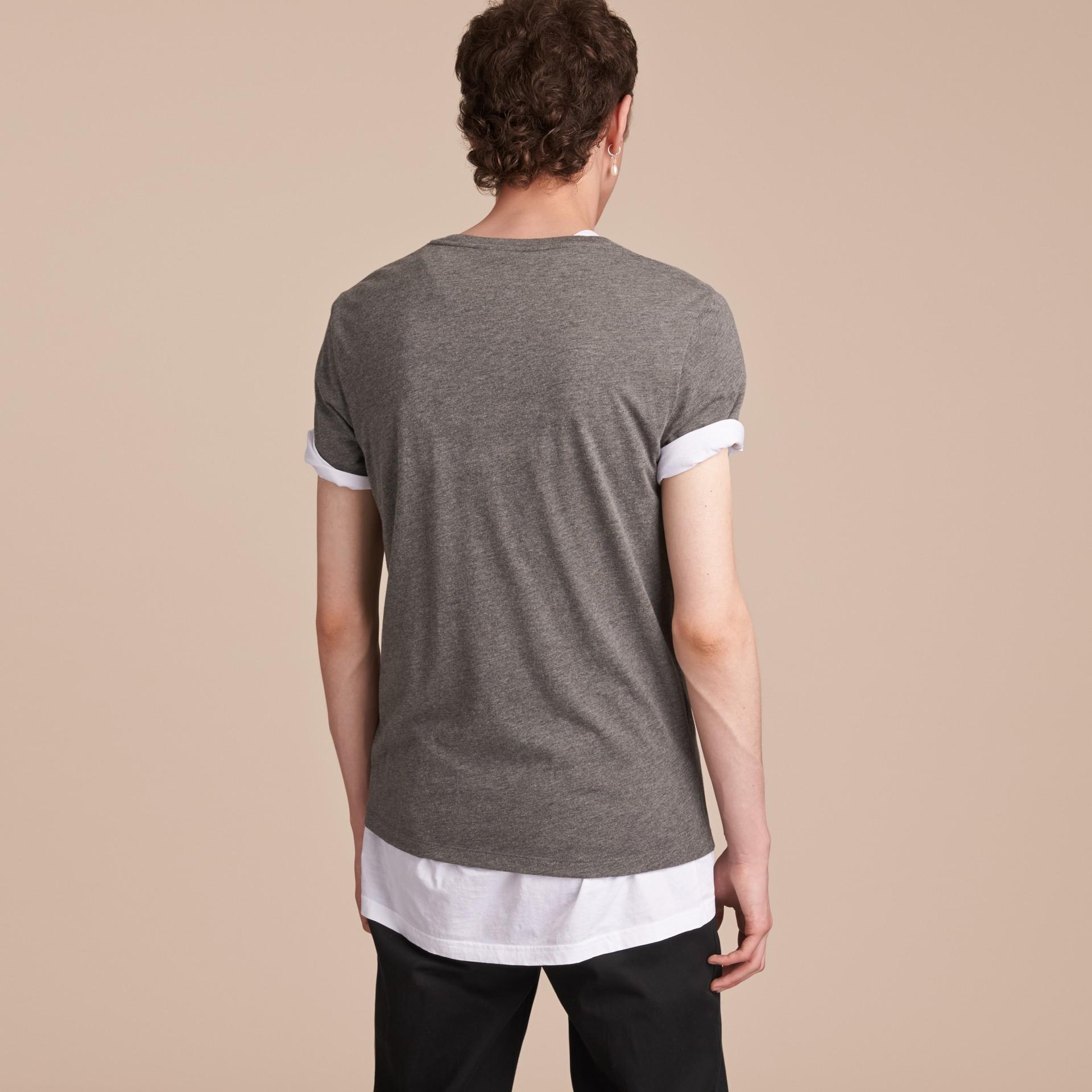 Contrast Motif Cotton Blend T-shirt Mid Grey Melange - gallery image 3
