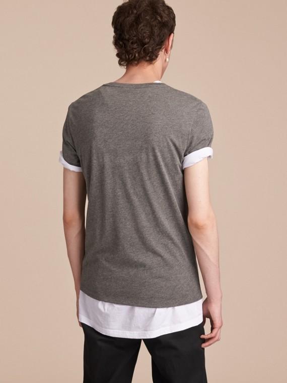 Contrast Motif Cotton Blend T-shirt Mid Grey Melange - cell image 2