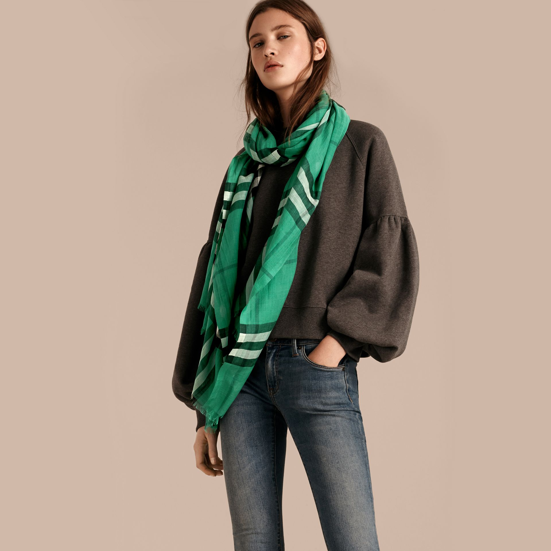 Lightweight Check Wool and Silk Scarf in Emerald - Women | Burberry Australia - gallery image 3