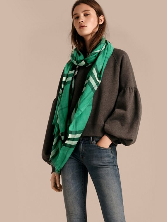 Lightweight Check Wool and Silk Scarf in Emerald - cell image 2