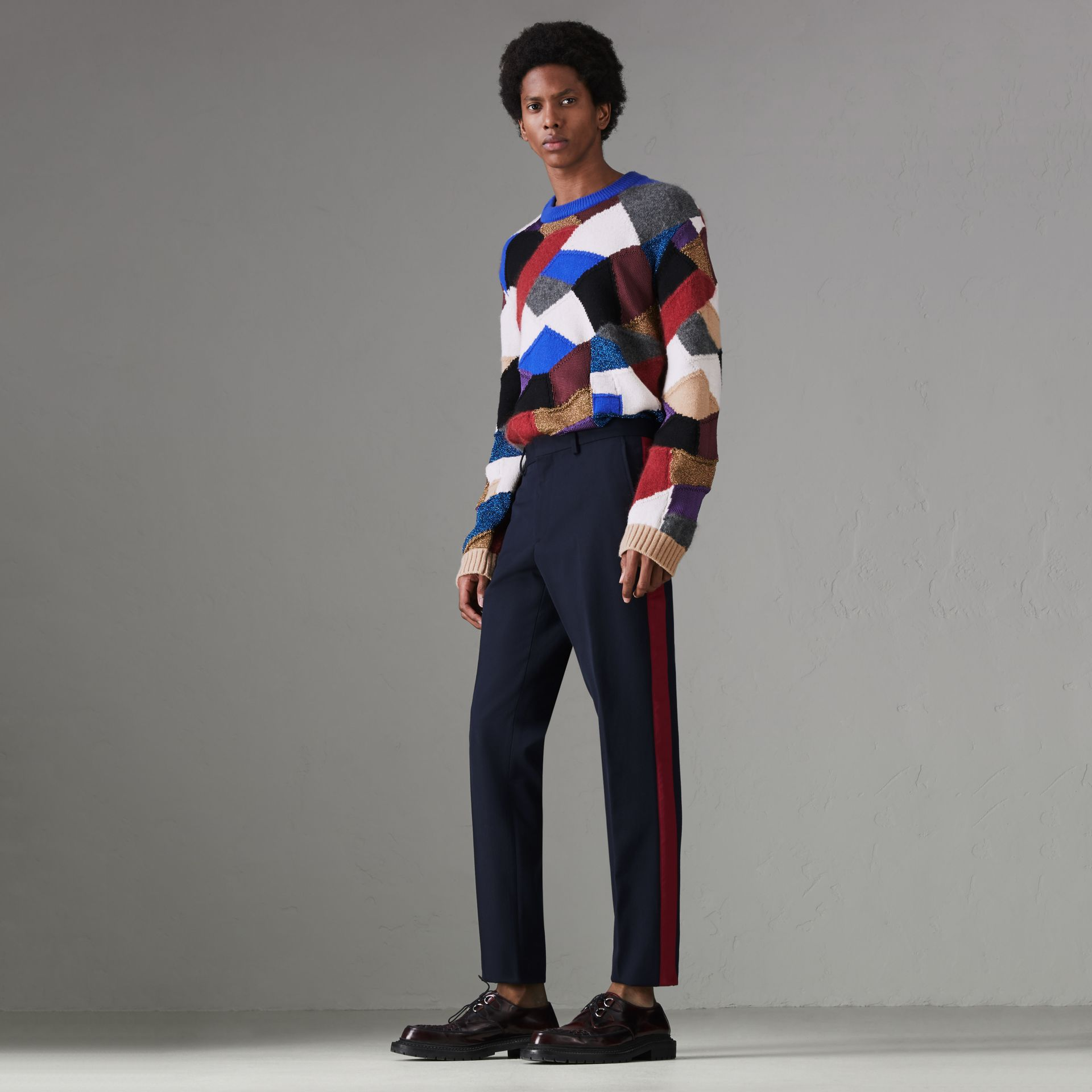 Contrast Stripe Wool Blend Tailored Trousers in Navy - Men | Burberry Singapore - gallery image 0