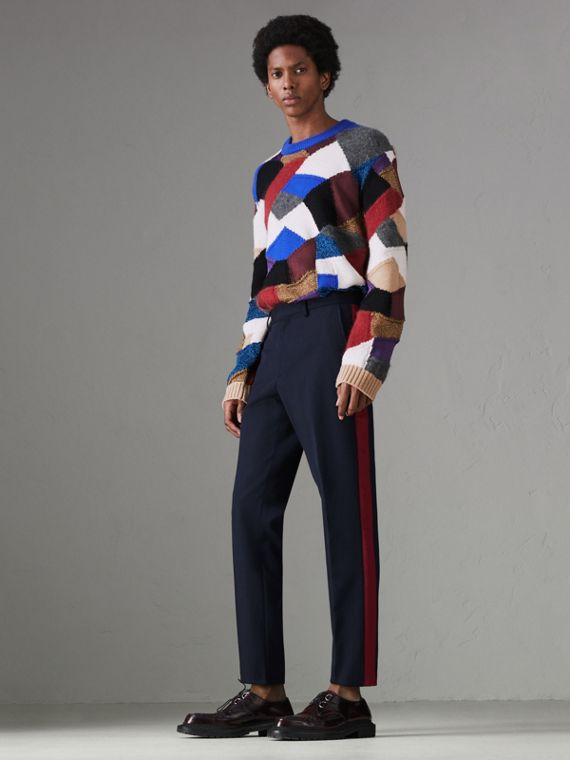 Contrast Stripe Wool Blend Tailored Trousers in Navy