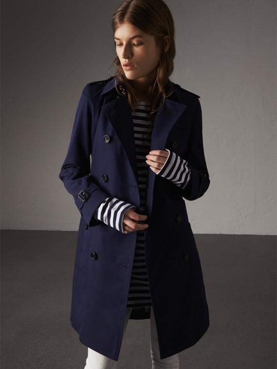 Trench coat en algodón de gabardina (Arándano)